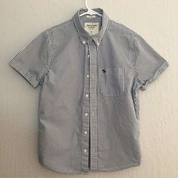 ac44c618 Abercrombie & Fitch Shirts | Afblue White Striped Short Sleeve ...